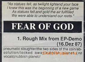 Fear Of God - Rough Mix [EP  demo] (1987)